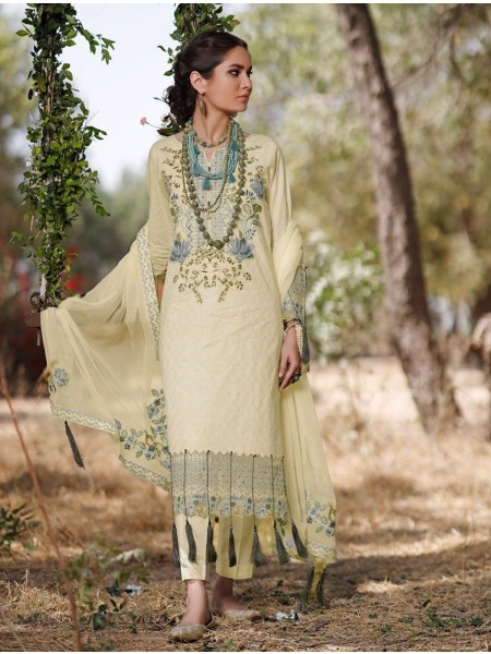 Khas AANGAN 3 Piece Unstitched Embroidered Lawn Suit with Chiffon Dupatta KCE-6041