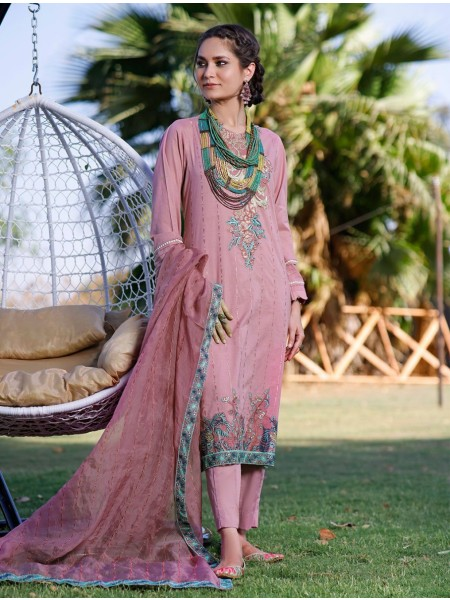 Khas AANGAN 3 Piece Unstitched Embroidered Lawn Suit with Chiffon Dupatta KCE-6042