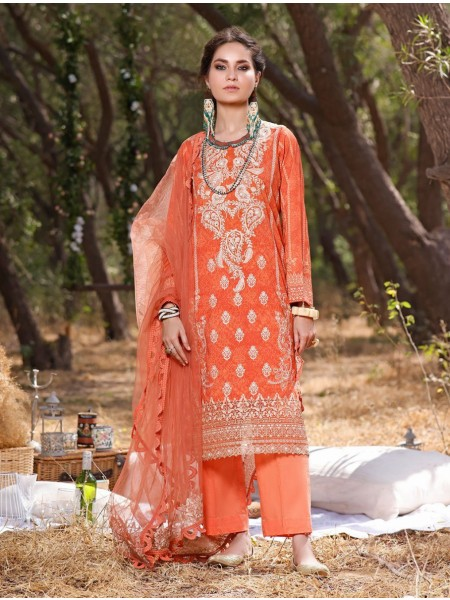 Khas AANGAN 3 Piece Unstitched Embroidered Lawn Suit with Chiffon Dupatta KNE-7020