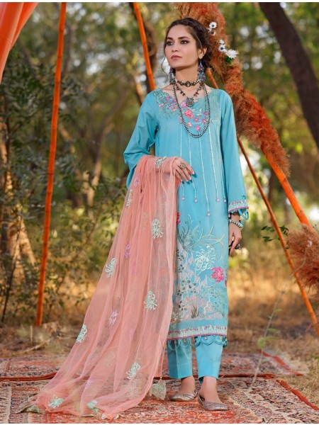Khas AANGAN 3 Piece Unstitched Embroidered Lawn Suit with Net Dupatta KNE-7017