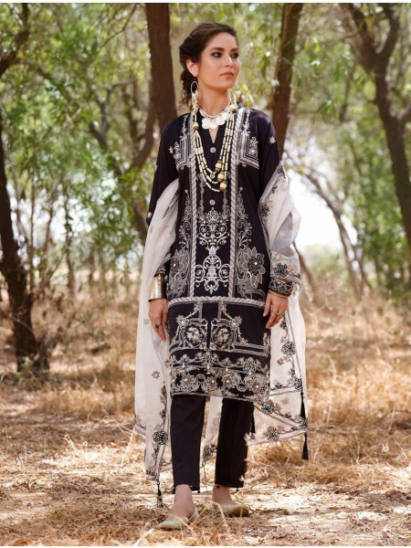 Khas AANGAN 3 Piece Unstitched Embroidered Lawn Suit with Net Dupatta KNE-7018