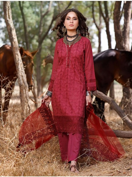 Khas AANGAN 3 Piece Unstitched Embroidered Lawn Suit with Net Dupatta KNE-7019