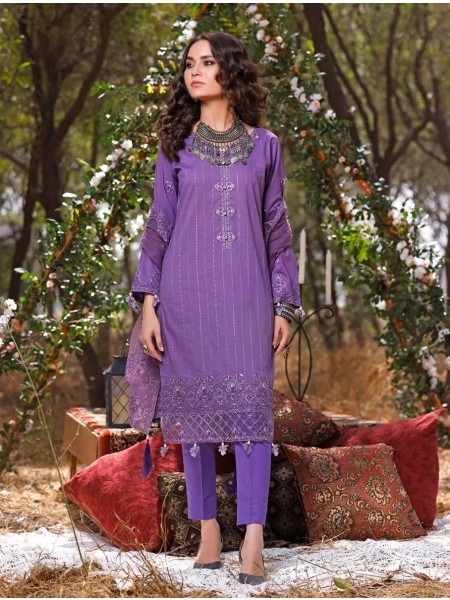 Khas AANGAN 3 Piece Unstitched Embroidered Lawn Suit with Net Dupatta KNE-7021