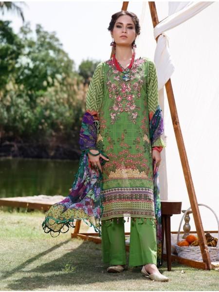 Khas AANGAN 3 Piece Unstitched Printed Lawn Suit with Chiffon Dupatta KCE-6039