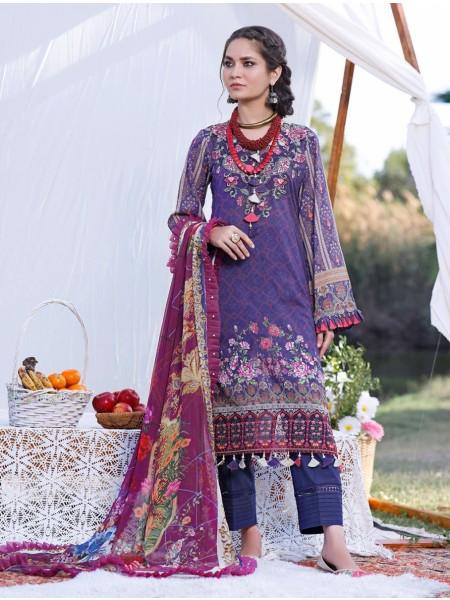 Khas AANGAN 3 Piece Unstitched Printed Lawn Suit with Chiffon Dupatta KCE-6040