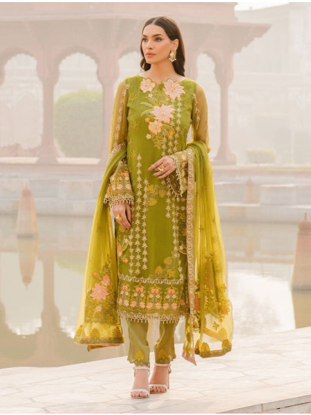 Khas Charbagh 3 Piece Unstitched Embroidered Chiffon Suit KNAC-1123