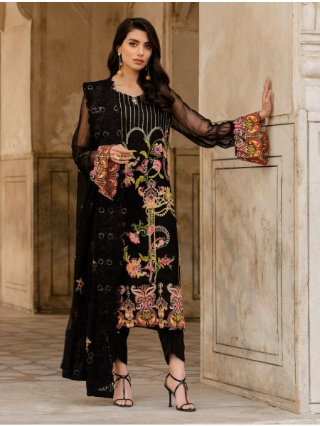 Khas Charbagh 3 Piece Unstitched Embroidered Chiffon Suit KNAC-1124