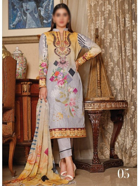 RUHI DIGITAL PRINTED LAWN EMB COLLECTION D-D 05