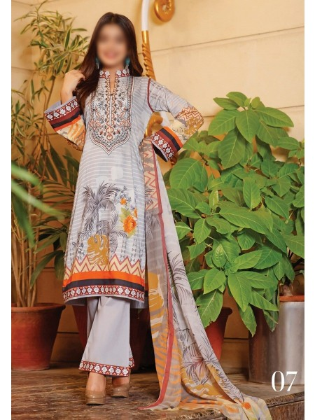 RUHI DIGITAL PRINTED LAWN EMB COLLECTION D-D 07
