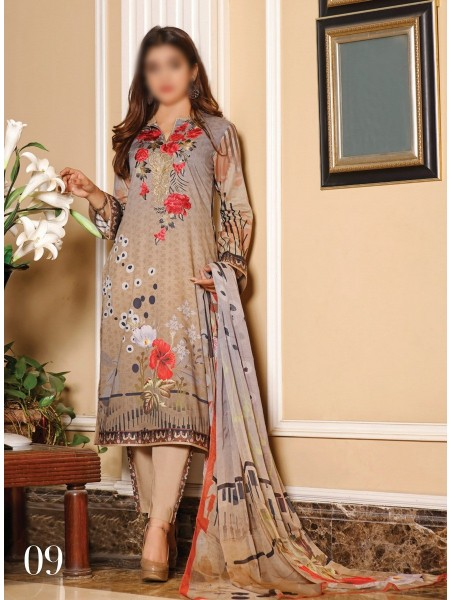 RUHI DIGITAL PRINTED LAWN EMB COLLECTION D-D 09