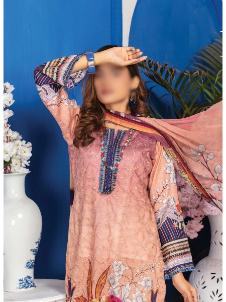 Schiffli Embroidered and Digital Print Lawn Collection Vol 10 D-D 07