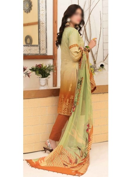 Tawakkal Alluring Aesthetics Shaded Unstitched Lawn Schiffli And Embroidery Collection D-1052