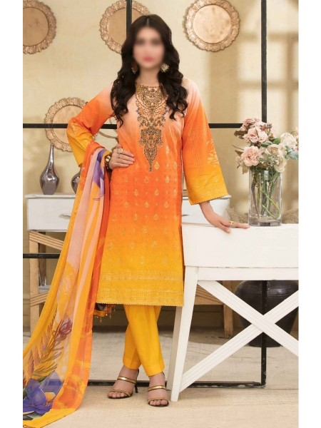 Tawakkal Alluring Aesthetics Shaded Unstitched Lawn Schiffli And Embroidery Collection D-1053