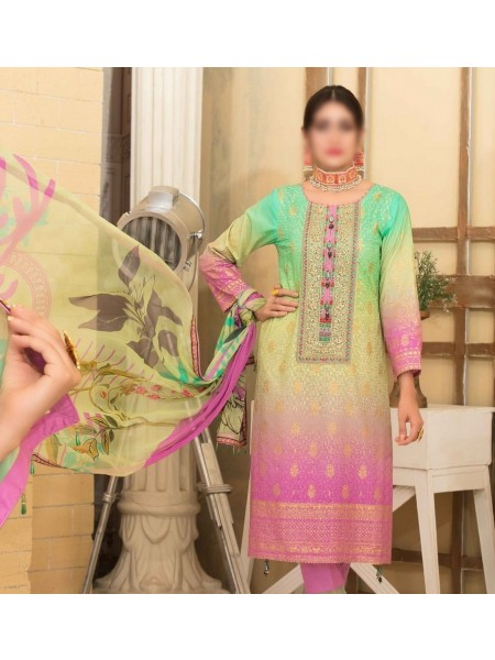Tawakkal Alluring Aesthetics Shaded Unstitched Lawn Schiffli And Embroidery Collection D-1056