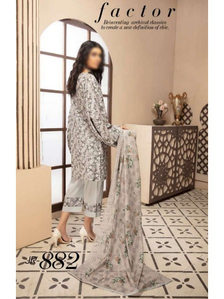 Johra Deluxe Digital Printed and Embroidered Lawn Collection D-JR 882