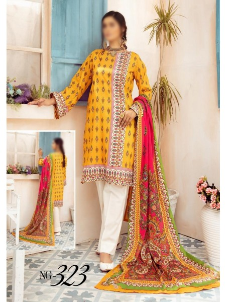 NUR Girls Printed Lawn Collection D-NG 323