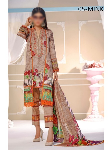 POSH Digital Lawn Embroidered Collection21 D05 MINK