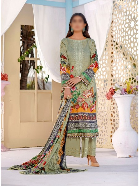 POSH Digital Lawn Embroidered Collection21 D09 OLIVE
