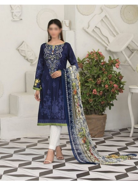 TAWAKKAL Raqami Digital Print And Embroidered Lawn Collection D-1615