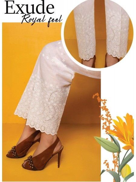 AMNA KHADIJA Chikankari and Embroidered TrouseD-01A