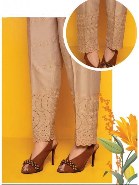 AMNA KHADIJA Chikankari and Embroidered TrouseD-01B