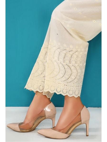 AMNA KHADIJA Chikankari and Embroidered TrouseD-01D