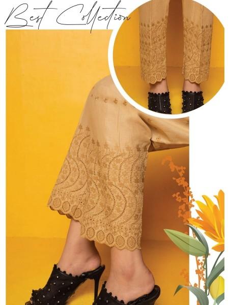 AMNA KHADIJA Chikankari and Embroidered TrouseD-01E