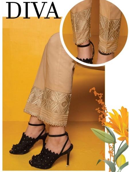AMNA KHADIJA Chikankari and Embroidered TrouseD-02A
