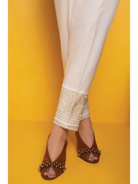 AMNA KHADIJA Chikankari and Embroidered TrouseD-02B