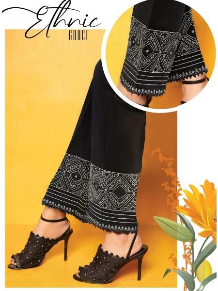 AMNA KHADIJA Chikankari and Embroidered TrouseD-02C
