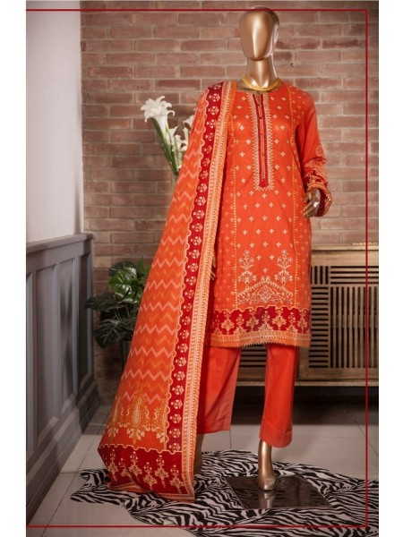 Sadabahar Festival Pretty Wear 3 PCS Stitched Collection 2021 D-ST 2109 ORANGE