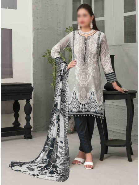 TAWAKKAL Sage Lawn Printed and Embroidered Collection D-1748