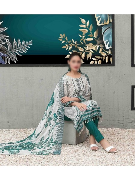 TAWAKKAL Sage Lawn Printed and Embroidered Collection D-1750