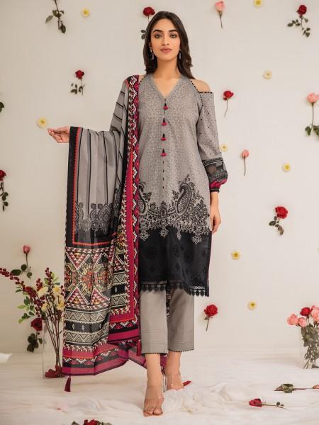 Edenrobe Nayab Collection EWU21V2-20426 - Grey - 3 Piece