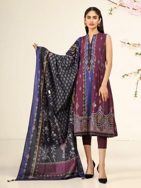 Edenrobe Nayab Collection EWU21V2-20428 - Burgundy - 3 Piece