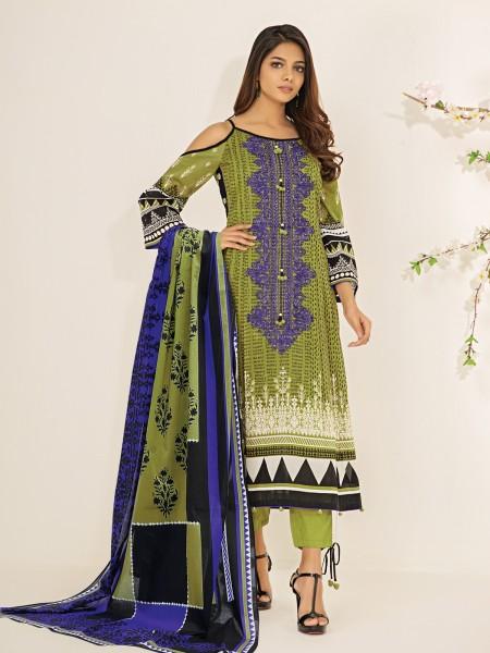 Edenrobe Nayab Collection EWU21V2-20432 - Olive - 3 Piece
