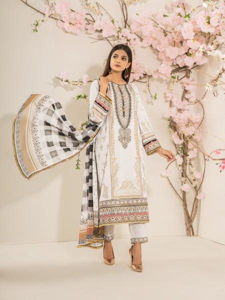 Edenrobe Nayab Collection EWU21V2-20442 - Off White - 3 Piece