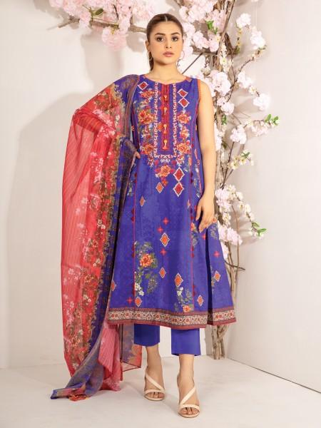 Edenrobe Nayab Collection EWU21V2-20448 - Royal Blue - 3 Piece