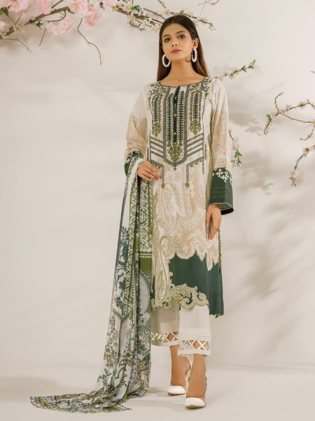 Edenrobe Nayab Collection EWU21V2-20451 - Cream - 3 Piece