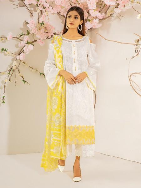 Edenrobe Nayab Collection EWU21V2-20460 - White - 3 Piece