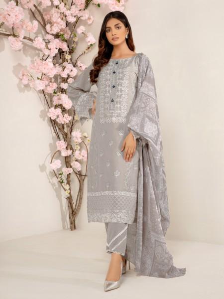 Edenrobe Nayab Collection EWU21V2-20468 - Light Grey - 3 Piece