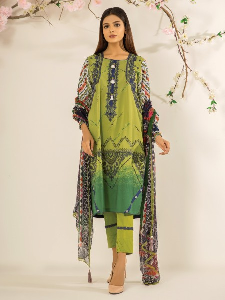 Edenrobe Nayab Collection EWU21V2-20472 - Lime Green - 3 Piece