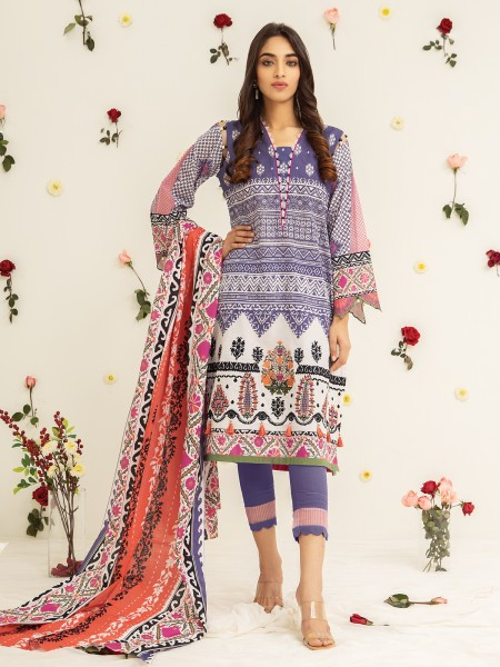 Edenrobe Nayab Collection EWU21V2-20482 - Purple & White - 3 Piece
