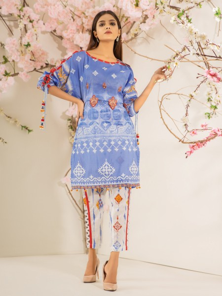 Edenrobe Nayab Collection EWU21V2-20496 - Light Blue - 2 Piece