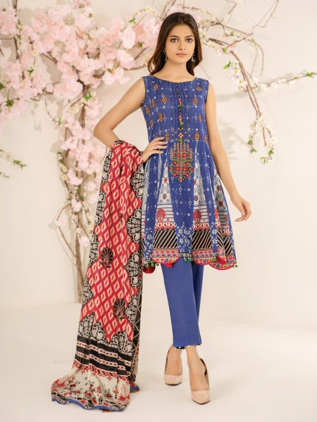 Edenrobe Nayab Collection EWU21V2-20509 - Blue - 2 Piece