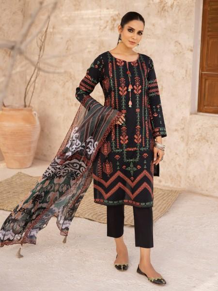 Edenrobe Nayab Collection EWU21V2-21114 - Black - 3 Piece