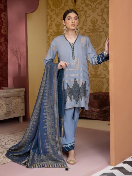 Edenrobe Nayab Collection EWU21V3-20477 - Mid Blue - 3 Piece