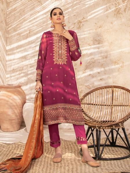 Edenrobe Nayab Collection EWU21V3-21103 - Deep Pink - 3 Piece