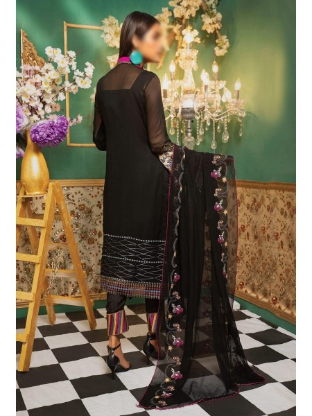 Gladious Unstitched Embroidered Chiffon Collection D-01