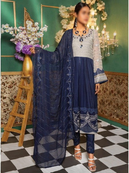 Gladious Unstitched Embroidered Chiffon Collection D-05